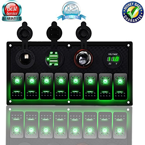(DCFlat 5 Pin 3 Gang / 4 Gang / 6 Gang Car Marine Boat Circuit RV LED Toggle Rocker Switch Panel Breaker Voltmeter with Fuse Double USB for RV Car Boat Blue/Red/Green Light (8 Gang Green))