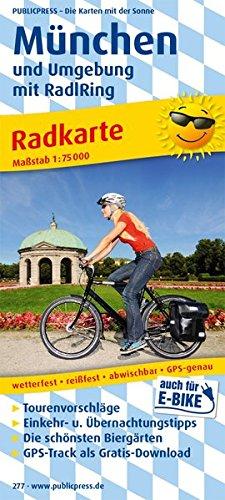 München und Umgebung mit RadlRing: Radkarte mit den schönsten Biergärten, wetterfest, reissfest, abwischbar, GPS-genau. 1:75000 (Radkarte / RK)