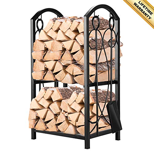 (Pinty Firewood Log Rack with 4 Tools Firewood Storage Fireplace Tool Set Indoor Outdoor Wrought Iron Firewood Holders Lumber Storage Stacking Black)