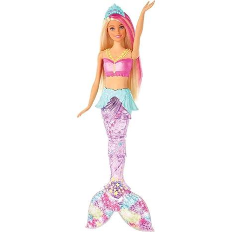 Barbie Gfl82 Dreamtopia Glitzerlicht Meerjungfrau Mit Blonden Haaren Flosse Mit Schwimmbewegungen Und Licht Spielzeug Für Die Badewanne Puppen