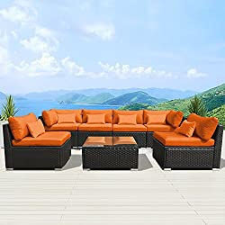 Modenzi 7G-U Outdoor Sectional Patio Furniture Espresso Brown Wicker Sofa Set (Orange)