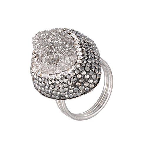 Art Kim Natural Druzy Stone Waterdrop Shape Unisex Unique Handmade Adjustable Druse Ring