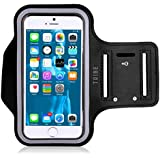 TRIBE Cell Phone Armband Compatible with iPhone 8, 7, 7S, 6, 6S, SE, 5 and Samsung Galaxy S9, S8, S7, S6 with Adjustable Elastic Band & Key Holder