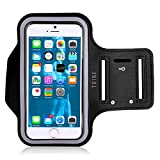 TRIBE Water Resistant Cell Phone Armband for iPhone 8, 7, 7S, 6, 6S, SE, 5 and Samsung Galaxy S9, S8, S7, S6 Phones with Adjustable Elastic Velcro Band & Key Holder for Running, Hiking, Biking, Walking
