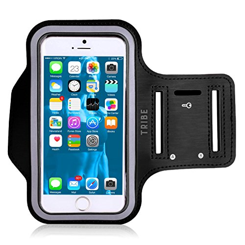 Tribe Water Resistant Cell Phone Armband for iPhone 8, 7, 7S, 6, 6S, SE, 5 and Samsung Galaxy S9, S8, S7, S6 Phones with Adjustable Elastic Velcro Band & Key (Band Cell Phone)