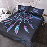 Blessliving Snow Catcher Duvet Cover 3 Piece Night Sky Snowflake Bedding Celestial Purple Galaxy Cluster Bedspread (Queen)