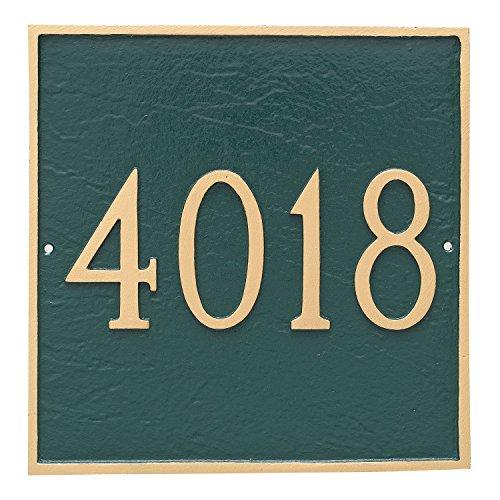 """Montague Metal 11"""" x 11"""" Classic Square One Line Address Sign Plaque, Standard, Antique Copper/Copper"""