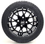 Golf Cart 12'' ''Vortex'' SS Gloss Black 215/35-12 or 215/50-12 DOT Golf Cart Tire Combo - - Set of 4 (215/50-12, Standard Lugs)