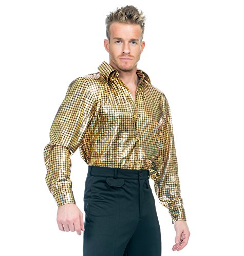 Charades Men's Gold Hologram Disco Dude Shirt, Medium -