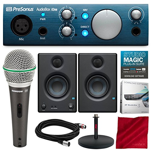(PreSonus AudioBox iOne 2x2 USB Recording System with PreSonus Eris E3.5 Multimedia Reference Monitors, Samson Microphone, and Deluxe Bundle)