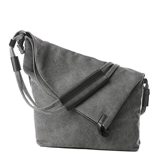 Umily Leinwand Rucksack Umhängetasche Messenger Bag Schultertasche Tasche-Grey