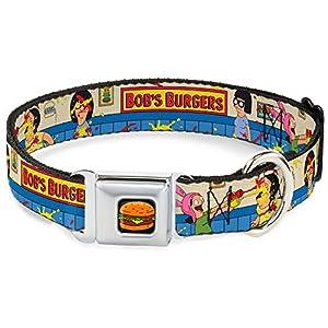 durable modeling Buckle-Down BRGA Hamburger Full Color Black Dog Collar