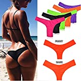 3-5 Days Delivery Sexy Lady Brazilian V-Style Ruched Ruffle Cheeky Bikini Bottom Thong Orange