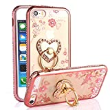 iPhone SE Case, iPhone 5S Case, Casesup Glitter Crystal Heart Floral Series - Slim Luxury Bling Rhinestone Clear TPU Case With Ring Stand For iPhone SE/5S/5, Rose Gold