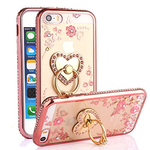 iPhone SE Case, iPhone 5S Case, Casesup Glitter Crystal Heart Floral Series - Slim Luxury Bling Rhinestone Clear TPU Case With Ring Stand For iPhone SE/5S/5, Rose Gold (Clear Rhinestone Iphone 5s Case)