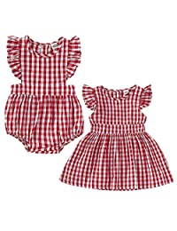 Puseky Toddler Baby Girls Sister Matching Outfit Red Plaid Romper Dress Summer Clothes Set (Color : As Shown, Size : Romper-6-12M)