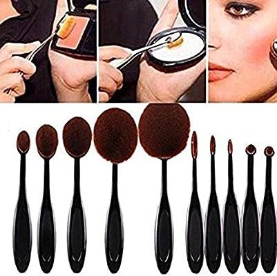 CAOLATOR 10X Pinceles de Maquillaje Belleza Cosméticos Herramientas Profesional de Mango de Plástico Fundación de Cepillo de Dientes Oval Brocha de ...