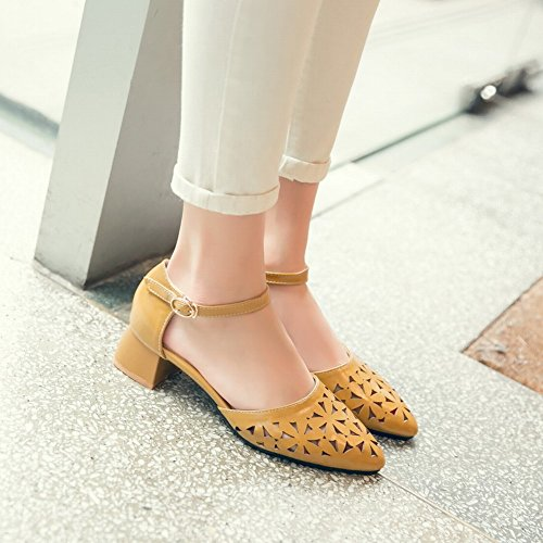 Charm Foot Womens Pointed Toe Chunky Ankle Strap DOrsay Shoes Dark Yellow sdcEHiNRM