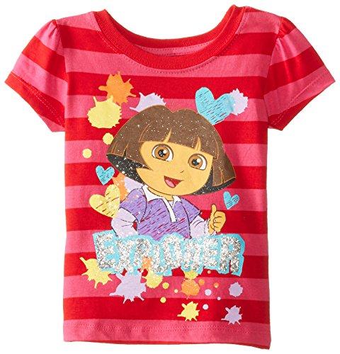 Nickelodeon Little Girls' Dora Explorer Short Sleeve Tee, Rose Azalea, 3T