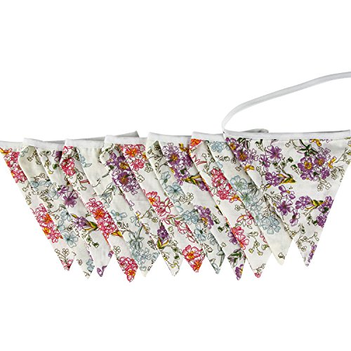 3.3M/10.8 Feet Floral Lovely Bunting Banner Pennant Garlands Fabric Double Sided Triangle Flag Vintage Cloth Shabby Chic Decoration for Birthday Parties,Ceremonies, Bedrooms