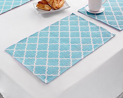 "Large Product Image of Placemats, Placemats for Dining Table, Place Mats for Kitchen Table, Woven Cloth Quatrefoil Decor Table Mats Set of 4, Perfect for Spring/Summer Party Decor, Size 13"" x 19"", Color Teal Blue Placemats"