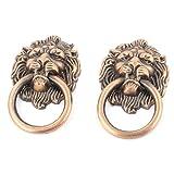 Lion Head Shape Cupboard Door Pull Ring Handle Knob 2pcs Copper Tone