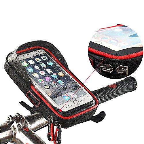 Icesnail Fahrradtasche, Fahrrad Handyhalter Rahmentaschen, Sensitive Touch-Screen Wasserdicht Telefonhalterung Lenkertasche für Smartphone 6,0 Zoll Größe
