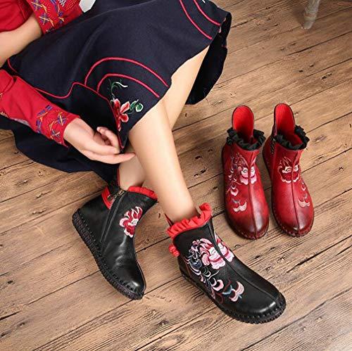 Dimensione Autunno Pelle Martins Ricamo In Rosso Donna Stivaletti Stivali Casual Vento Con Hy 37 A Nazionale Piatte inverno Artigianali Scarpe Da Nero Cerimonia colore 1Tx0w78