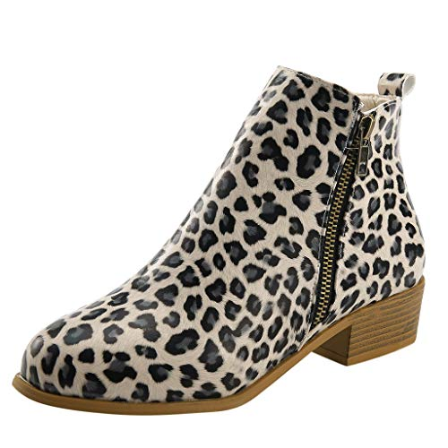 Kininana Women Classic Leopard Print Ankle Boots Casual Comfy Square Heels Zipper Single Shoes Outdoor Work Shoes Khaki