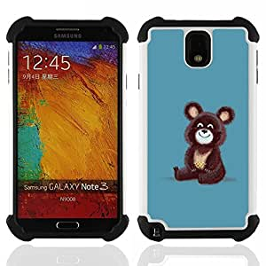 For Samsung Galaxy Note3 N9000 N9008V N9009 - Brown Bear Olympic Cartoon Drawing Cute /[Hybrid 3 en 1 Impacto resistente a prueba de golpes de protecci????n] de silicona y pl????stico Def/ - Super Marley