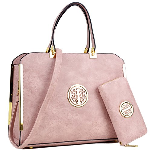 Color Pink Multi Handbag (Large Satchel Handbag Designer Purse Multicolor 2 Pieces with Wallet Shoulder Bag (W-Pink))