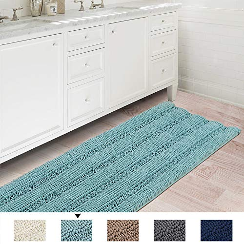 Soft Microfiber Shag Bath Rug Extra Absorbent and Comfortable Machine-Washable Bathroom Mat, 47