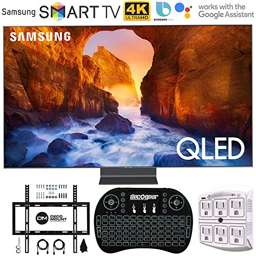 Samsung QN65Q90RA 65″ Q90 QLED Smart 4K UHD TV (2019 Model) – (Renewed) w/Flat Wall Mount Kit Bundle for 45-90 TVs + 2.4GHz Wireless Backlit Keyboard Smart Remote + 6-Outlet Surge Adapter