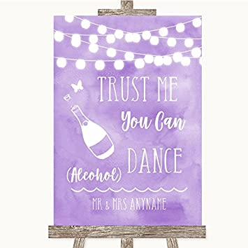 Wedding Sign Poster Print Lilac Watercolour Lights Alcohol Says You