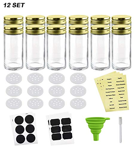 Nellam French Round Glass Spice Jars - Set of 12 with Shaker Lids and Chalkboard Sticker Labels, Small 4oz Bottles - Stackable Herbs and Spices Containers - Decorative Organizers in Gold ()