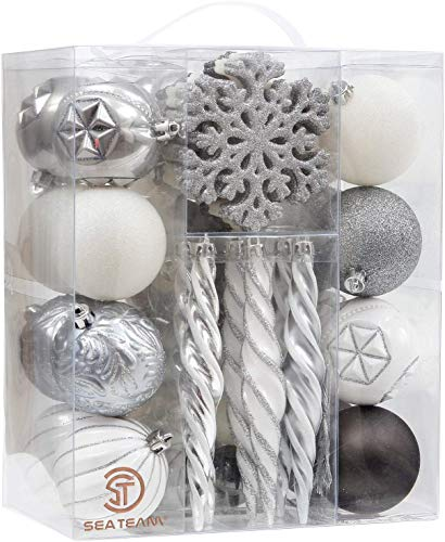 Sea Team 62-Pack Assorted Shatterproof Christmas Ball Ornaments Set Decorative Baubles Pendants with Reusable Hand-held Gift Package for Xmas Tree (Silver, White, Grey) (Tree White Baubles)