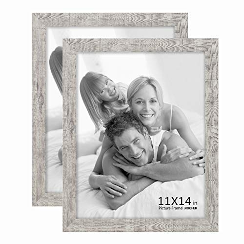 Boichen 2 Pack 11x14 Picture Frame Wood Pattern High Definition Glass Rustic Wave Woodgrain Photo Frame Tabletop or Wall (Frame Wood 11x14 Distressed)
