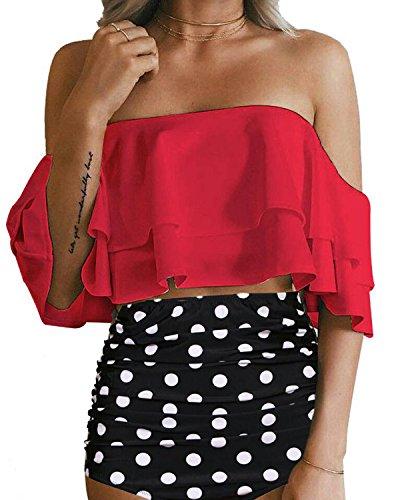 Mini Ruffled Bikini (Tempt Me Women Two Piece Off Shoulder Ruffled Flounce Crop Bikini Top With Print Cut Out Bottoms Red M)