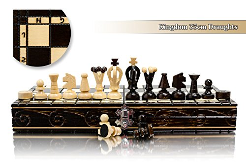 Stunning KINGDOM 36cm DRAUGHTS - Chess and Checkers Wooden Set - Bargain