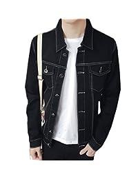 Splendid-Dream Men's Stand Collar Denim Jacket Coat