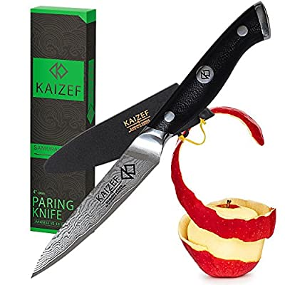 Paring Knife | 4-inch Professional Damascus Peeling Knife | Made from VG-10 Japanese Super Steel & SUS410 Stainless Steel| Kaizef Samurai Series Kitchen Knives