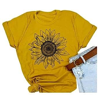 Women Short Sleeve Sunflower T-Shirt Cute Funny Graphic Tee Teen Girls Casual Shirt Tops - Yellow - Medium