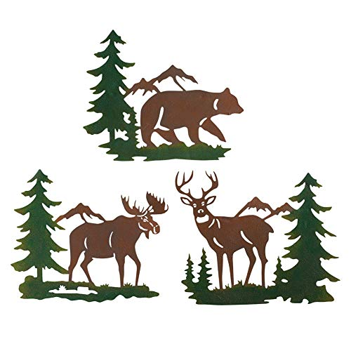 Collections Etc Northwoods Woodland Animals and Mountains Metal Wall Art Trio - Set of 3, Includes Bear, Moose, and Deer (Northwoods Decor Cabin)