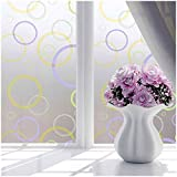 TOOGOO(R) Bedroom Bathroom Home Waterproof Glass Window Privacy Film Sticker PVC Frosted Colorful circle