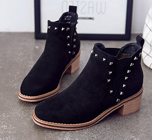 Grandes Casual Botas Cachemira Tallas Black Meili Moda Elásticos Zapatos De Remaches Botas Ásperos Cuadrados Con Además Mujer q6BOp60A