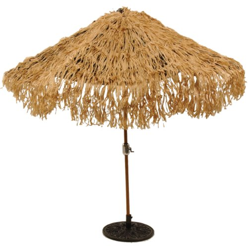 [Tropical Express Raffia Colored Tiki Luau Umbrella Cover, 9-Foot Diameter] (South Pacific Costumes)