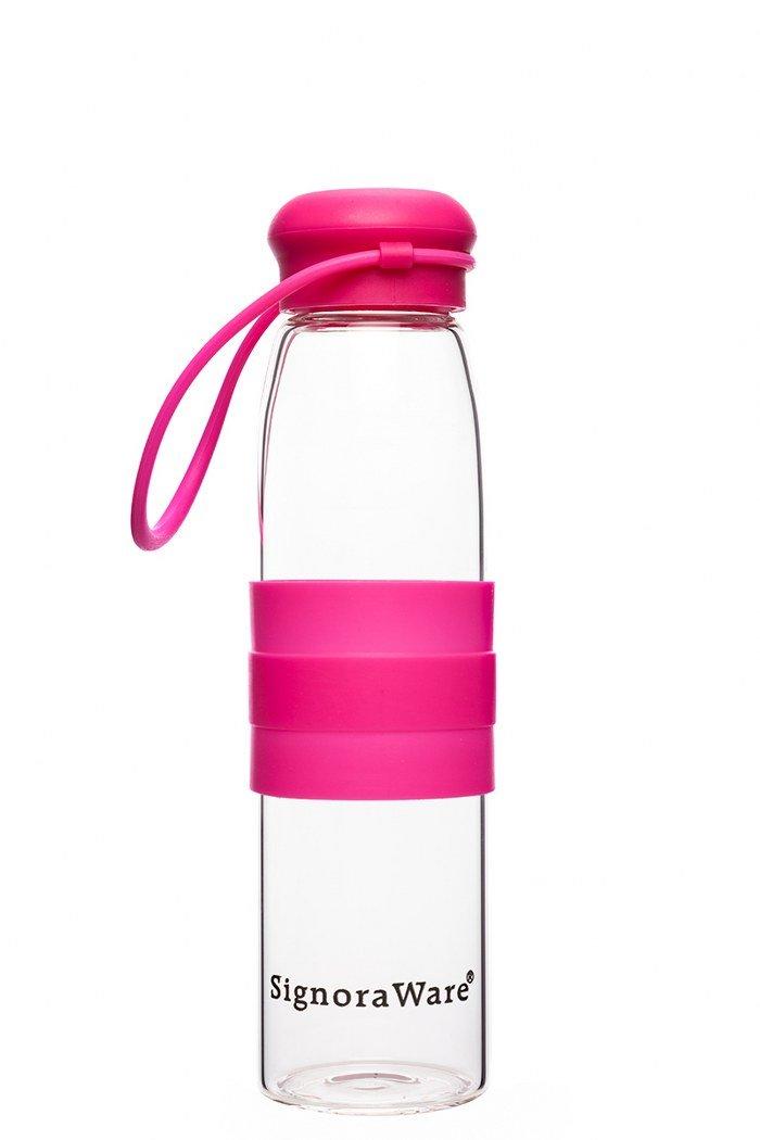 Signoraware Aqua Splash Glass Water Bottle, 550Ml/24Mm, Red