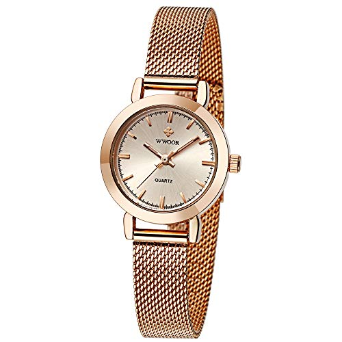 WWOOR Women's Watch Fashion Analog Quartz Watches with Stainless Steel Mesh Band Waterproof Wristwatch Casual Gift Watch Ladies (Rose Gold)