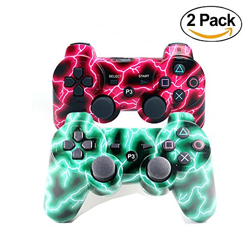 [2 Pack] Wireless Double Vibration Game Controller Bluetooth Sixaxis Gamepad Remote for PS3 Playstation 3 [Gift 2 Charging-Cable] (Red+Green Lighting)