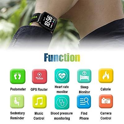 Ereon Sport Smartwatch IP67 Waterproof Fitness Tracker for Men Women Kids with Heart Rate Blood Pressure Sleep Monitor Pedometer GPS Activity Tracker Watch Run Bracelet Christmas Thanksgiving Gifts